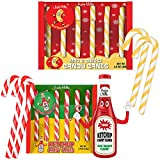 Archie McPhee Ketchup and Mac & Cheese Christmas Candy Canes - Stocking Stuffers - Weird, Unique, Funny, Novelty Candy - Prank, Gag, Joke, White Elephant Gift - One Box (6 pcs) of Each Flavor