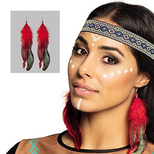 NET TOYS Elegante Feder-Ohrringe Indianerin - Rot-Schwarz 12cm - Außergewöhnliches Damen-Kostüm-Zubehör Pocahontas Ohrstecker als Indianerschmuck - EIN Highlight für Fasching & Kostümfest