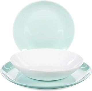 Luminarc Diwali Service de table en verre opale extra résistant pour 6 personnes, 18 pièces, turquoise et blanc