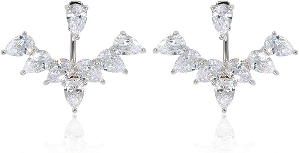 Marquise Cut & Round Cubic Zirconia Floral Front Back Jacket Earrings White Gold / 14K Rose Gold Plated