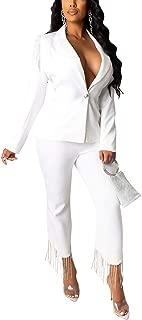 Women's 2 Piece Suit Set Slim Fit Button Long Sleeve Tassels Blazer with Bodycon Long Pants Set