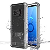 MIZUSUPI Samsung Galaxy S8 Plus Waterproof Case, IP68 Certificated Shockproof Snowproof DustProof Full Body Protective with Kick Stand,Waterproof Test Paper and Floating Strap White