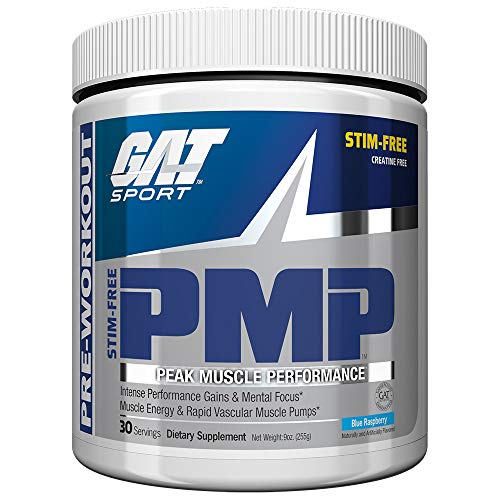 GAT Sport PMP Peak Muscle Performance, Stimulant Free, Creatine Free, Blue Raspberry, 30 Servings