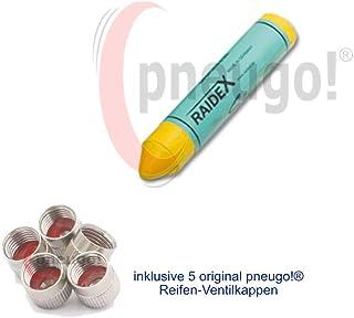 1 x Reifenkreide GELB Sisa Durchmesser 17,5mm, Länge ca. 9,3cm inkl. 5 Ventilkappen