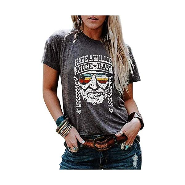 Have a Willie Nice Day T Shirt Women Summer Casual Country Music Graphic Short Sleeve...