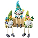 Floral Gnomes with Dangling Legs Decorative Sitter Figurines - Set of 3 - for Window Sills, Shelves, Cabinets - Legs Dangle Over Edge - Resin, 3' L x 3' W x 9' H