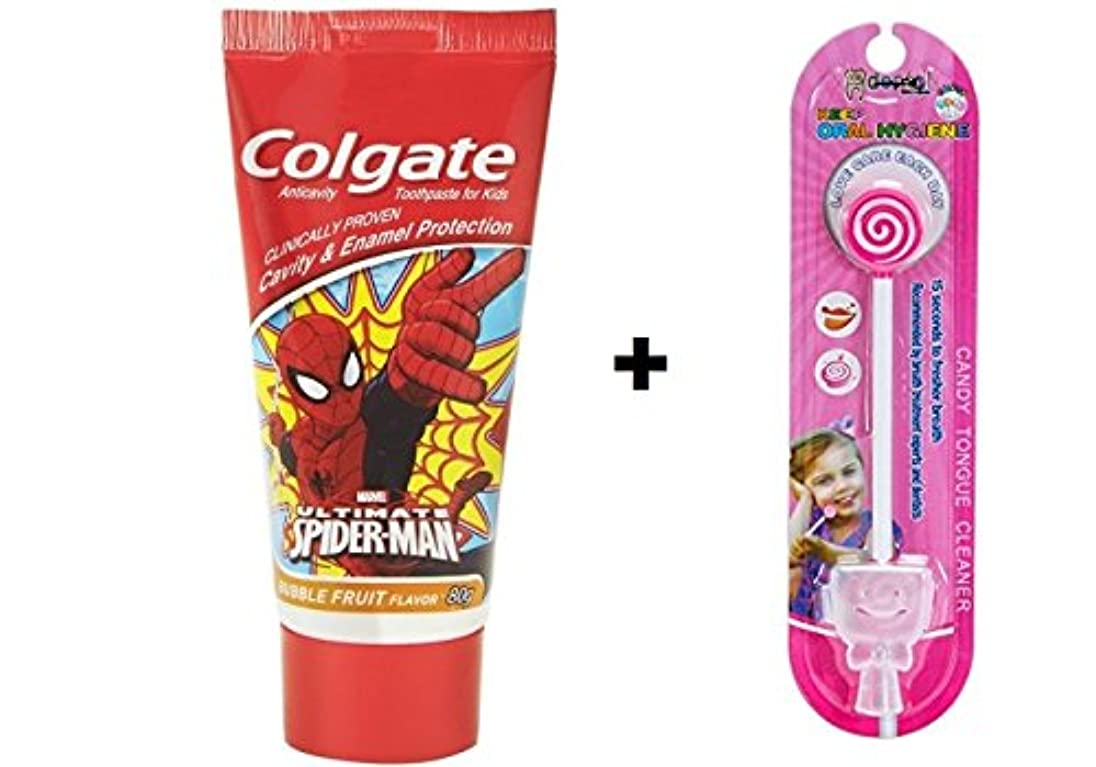 星補う祖母Colgate Kids Spiderman Toothpaste - 80 g + Kids lollipop Tongue Cleaner (Combo Pack )