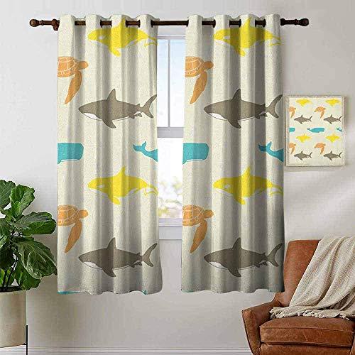 N / A Fenstervorhänge Meerestiere, Muster mit Walhai und Schildkröte Aquarium Doodle Style Meereslebewesen, Elfenbein Taupe Pfirsich, Fenster zum Binden von Fenstervorhängen
