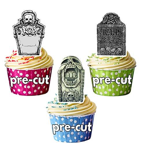 Vorgeschnittene Halloween Grabsteine - Essbare Cupcake Topper / Kuchendekorationen (12 Stück)