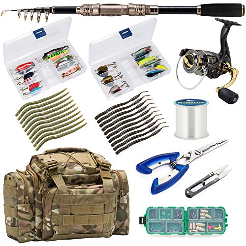 Dr.Fish Spinning Fishing Rod and Reel Combos Package 7FT Outfit Kit Trout Bass Lines Lure Bait Accessories Fishing Carrier Bag Gear Organizer Freshwater Saltwater