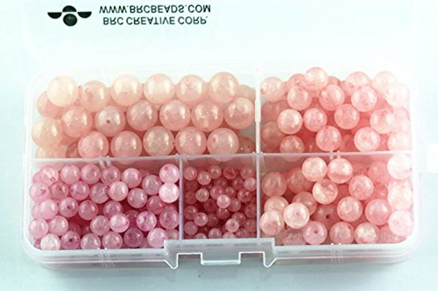 BRCbeads Rose Quartz Natural Gemstone Loose Beads Round Value Box Set 340pcs Per Box for Jewelry Making (Plastic Container is Included)-4,6,8,10mm