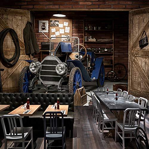 Papel tapiz fotográfico personalizado 3D Coche Retro Estilo nostálgico Restaurante Café Leche Té Tienda Fondo Decoración de pared Arte Pintura mural Mural 250 cm (L) × 175 cm (H)