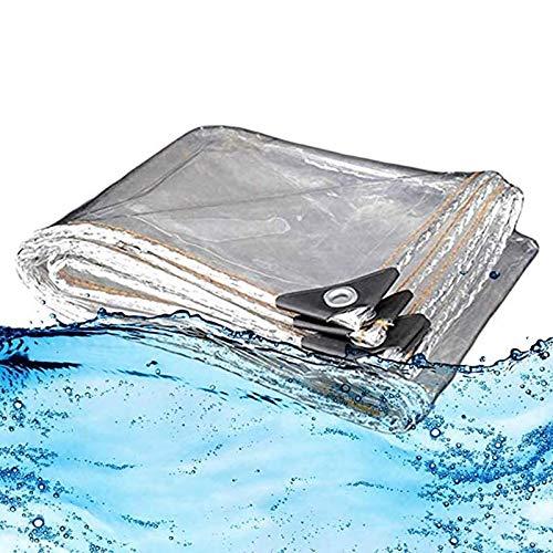 ZHANGYUQI Lona Transparente Resistente, Lona Impermeable con Arandelas de Metal, Resistente A Los Rayos UV, para Techo, Camping, Exterior, Patio, Lluvia(Color:Claro,Size:2x5m)