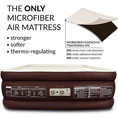 Englander First Ever Microfiber Queen Air Mattress, Luxury Microfiber airbed with Built in Pump, Highest End Blow...