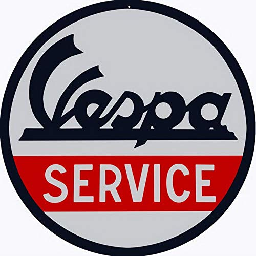 TYmall Vespa Service Round Metal Tin Sign Garage Sign Oil Sign 12X12 Inches