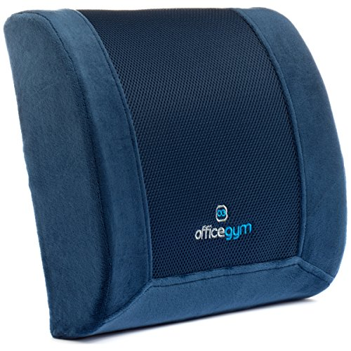 OfficeGYM Memory Foam Lumbar Cushion for Lower Mid Back Pain Relief – Best Orthopedic Design Lumbar Support Back Pillow for The Office Chair, Car Seat and Home