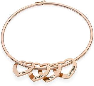 MyNameNecklace Inspirational Women Bracelet Bangle Hearts Charms -Engraved Personalized Mantra Jewelry -Christmas Gift