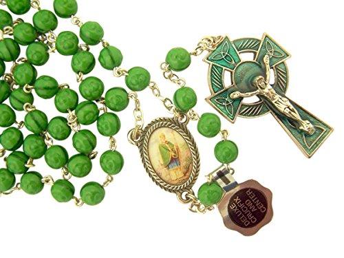 Green Glass Shamrock Prayer Bead Celtic Rosary with Saint Patrick Center, 22 Inch