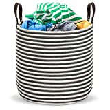 Extra Large Cotton Laundry Basket and Toy Bin Organizer with Leather Handles; Chic Natural Woven...