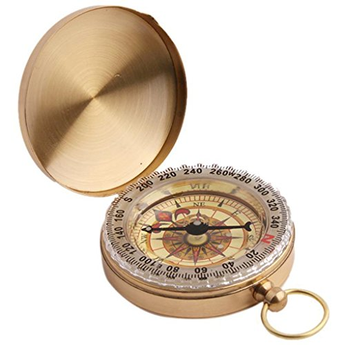 UNKE Vintage Retro Outdoor Camping Hiking Portable Brass Pocket Watch Camping Compass Navigation Tool