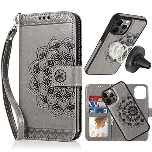 CASEOWL Wallet CaseCompatible for iPhone 12 Pro Max,Magnetic Detachable Case Fit Magnetic Car Mount,Card Solts Holder, Embossed Mandala Pattern Flower Floral Leather Flip Wallet Case[Gray]