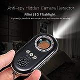 Extaum Detector de cámara Oculta Anti-espía portátil Inalámbrico RF Infrarrojo 3-en-1 Alerta de vibración de Safesound con Mini Leds Linterna para el hogar Hotel Travel Secure