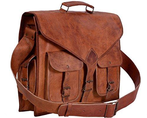 inindia handmadecraft Vintage hecho a mano bolso de piel Para Portátil Maletín Bolso Bandolera marrón marrón 18