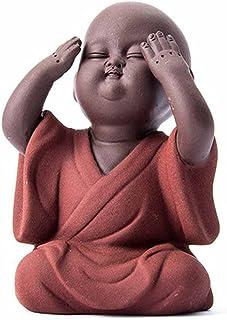ZLBYB Ceramic Buddha Statue Tea Pet Purple Sand Monk Home Decoration Buddhist Monk Miniatures Ornaments Crafts Buddhism Gi...
