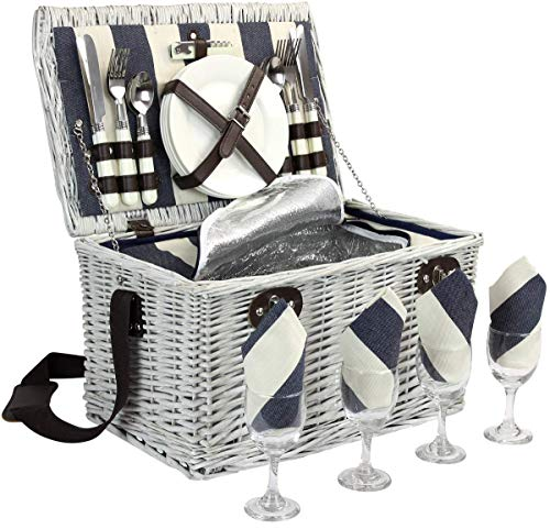 Cesta de picnic para 4, juego de cestas de sauce con compartimento aislado, cesta de picnic de mimbre grande hecha a mano con cubiertos Utensilios - Perfecto para ir de picnic, acampar