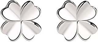Lucky Four Leaf Clover Earrings Sterling Silver Modern Minimalist Style Everyday All-Match The Best Gifts For Women And La...