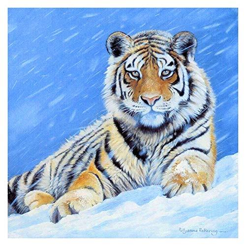 Navidad 5D DIY diamante pintura completos Kits Tigre de nieve animal completo para adultos y niños Arte de diamante redondo perfecto para la relajación decoración de la pared del hogar 20x20cm A1015