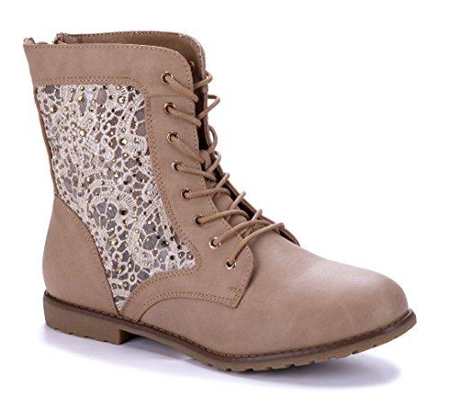 Schuhtempel24 Damen Schuhe Flache Stiefeletten Stiefel Boots Khaki flach Ziersteine 2 cm