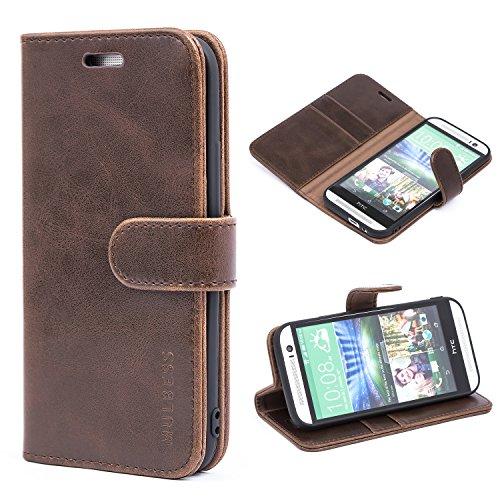 Mulbess Handyhülle für HTC One M8 Hülle Leder, HTC One M8 Handy Hüllen, Vintage Flip Handytasche Schutzhülle für HTC One M8 Hülle, Kaffee Braun