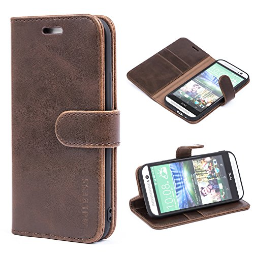 Mulbess Handyhülle für HTC One M8 Hülle, Leder Flip Case Schutzhülle für HTC M8 Tasche, Vintage Braun