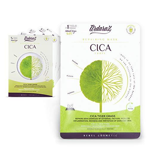 Ardaraz - Masque pour le visage hydratant et réparateur imprégné de concentré de sérum CICA - Centella Asiatica - Apaisant et revitalisant - Lot de 5 masques pour le visage