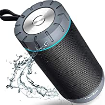 COMISO Waterproof Bluetooth Speakers Outdoor Wireless Portable Speaker with 20 Hours Playtime Superior Sound for Camping, Beach, Sports, Pool Party, Shower (Dark Grey)