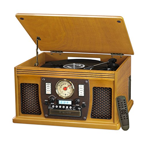 Innovative Technology Nostalgic Aviator Wood 8-in-1 Bluetooth Turntable Entertainment Center, Blond Oak (Renewed)