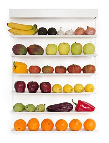 Fruitwall Frutero y verdulero de Cocina Moderno de Pared Gran diseño. Mucha Capacidad. Sin rendijas ni recovecos, Muy Limpio. La Fruta no se aplasta. Ahorra Espacio en tu Cocina