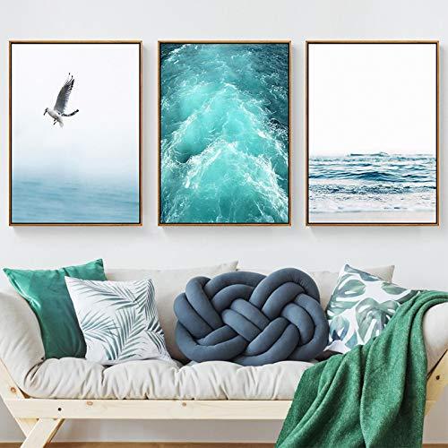 Impresión en lienzo Mar azul y cielo Paisaje nórdico Gratis Gaviota Olas Arte de la playa Póster Decoración para sala de estar Aves marinas Pared 60x90cmx3 Sin marco