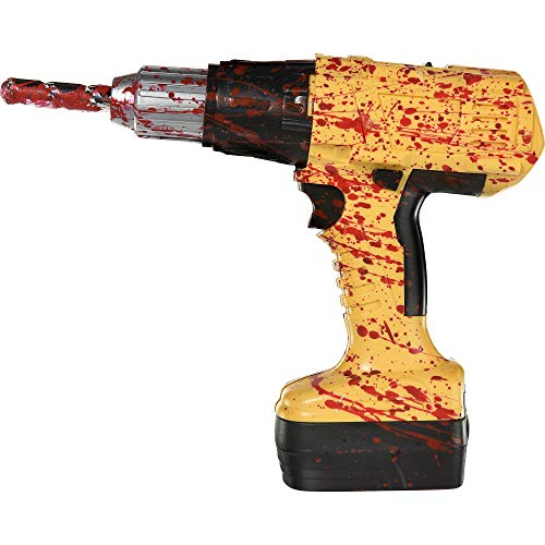 amscan Blood Spattered Power Drill Halloween Accessory, Battery Operated, Includes 2 AA Batteries