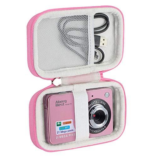 Khanka Duro Viaje Estuche Bolso Funda para Compactas Cámaras Digitales AbergBest 2.7/ATian Compactas LCD HD Cámara(Case Only) (Rosa&Blanco)