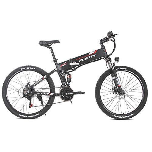 Bicicleta Eléctrica Plegable de 26 Pulgadas 48V 500W, Velocidad Máxima 40KM / H, Bicicleta Eléctrica para Adultos con Pantalla LED + Soporte Movil Bicicleta