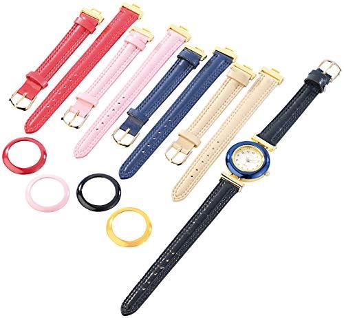 PEARL Uhr Wechselarmband: Damenuhr mit 5 farbigen Wechsel-Armbändern (Uhr mit Wechselarmbändern Set)