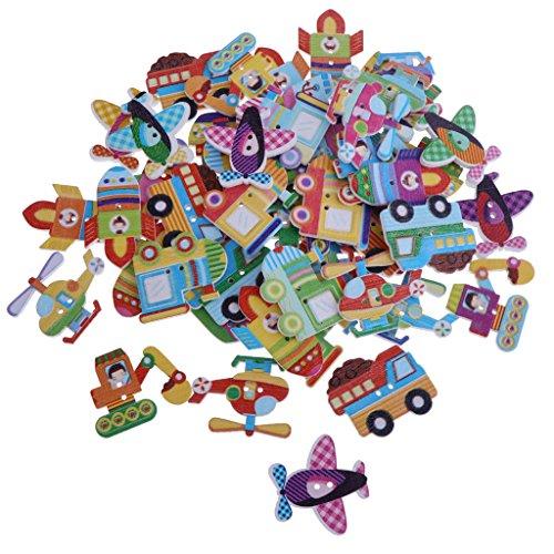 non-brand 50 Stück Cartoon Holzknöpfe Bunte Knöpfe Kinderknöpfe für Nähen Handwerk Scrapbooking und DIY Handgefertigte Verzierung - Gemischter Transport, 32 x 25mm
