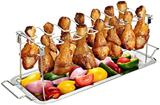 G.a HOMEFAVOR Stainless Steel Chicken Wing Leg Cooking Rack Grill Accessories Grill Holder with Drip Pan