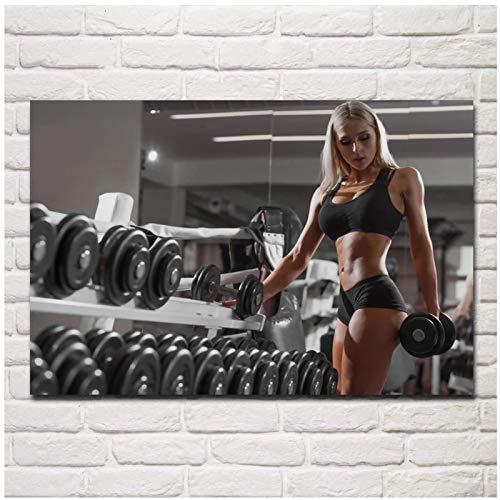 transpiración gimnasio entrenamiento mancuernas plantean trabajo duro chica sexy deportes pared del hogar arte moderno decoración póster 24x32 pulgadas 1 Uds Sin marco