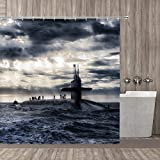 MZLKL Shower Curtain Battle Navy Armed Submarine Naval Forces Warships Army Boat Shower Curtains Sets with 12 Hooks 72 x 72 Inches Waterproof Polyester Fabric