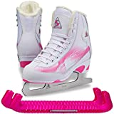 SKATE GURU Jackson Ultima Rave RV2001 Girl's Figure Ice Skates Softec, Color: White/Pink, Size: Kids Toddler 10 Bundle with Free Guardog Skate Guards