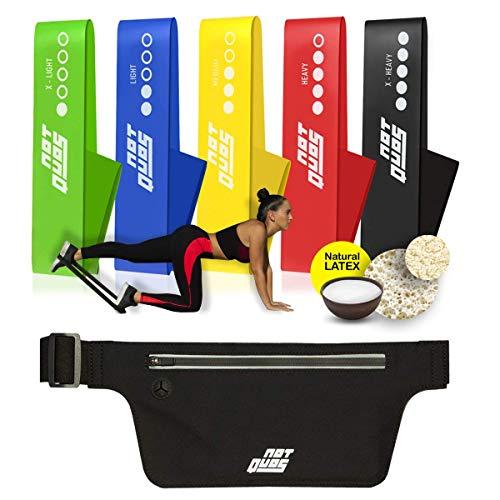 Set Bandas Elásticas Fitness de Resistencia para Crossfit, Fortalecimiento, Fisioterapia, Yoga, Pilates, Recuperación o Prevención de Lesiones, con Cinturón para correr