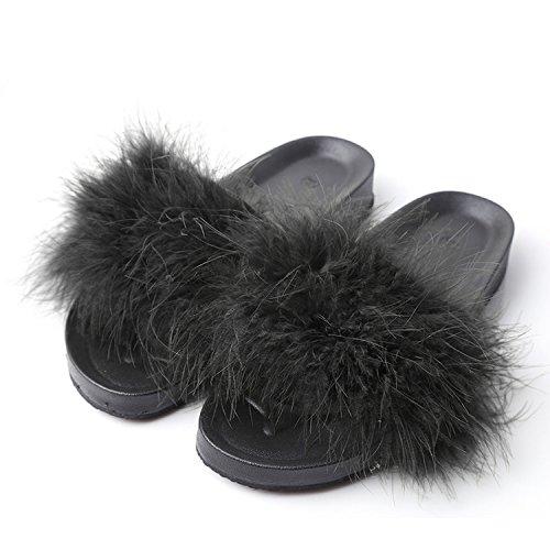 Kingwhisht Fur Slippers Furry Slide Ostrich Feather Home Slippers Flip Flops Beach Sandals Flats Home Shoes,Black,8.5